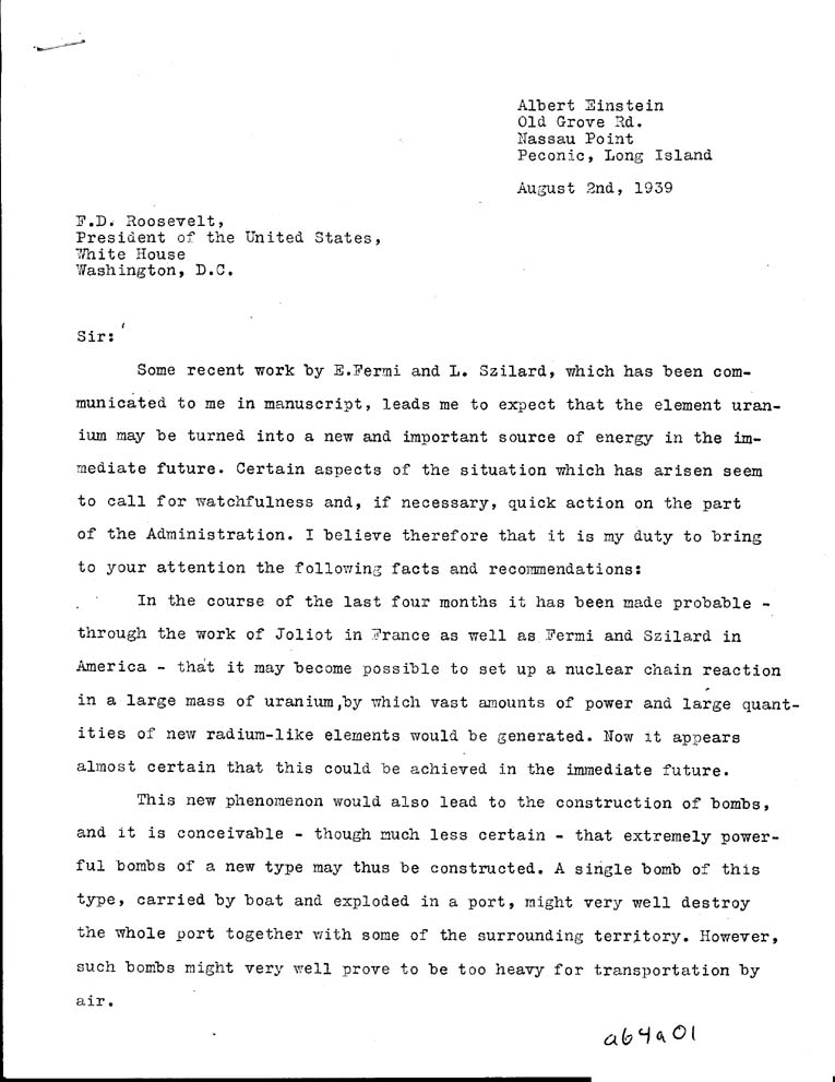 The Einstein letter